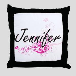 Jennifer Artistic Name Design with Fl Throw Pillow