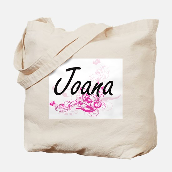 Joana Artistic Name Design with Flowers Tote Bag