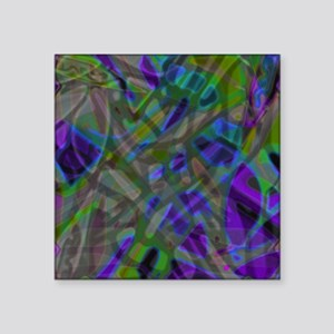 """Colorful Stained Glass G3 Square Sticker 3"""" x 3"""""""