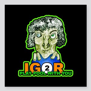 "Billiard Halloween Igor Square Car Magnet 3"" x 3"""