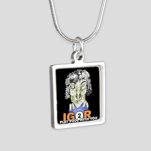 Billiard Halloween Igor 2 Silver Square Necklace