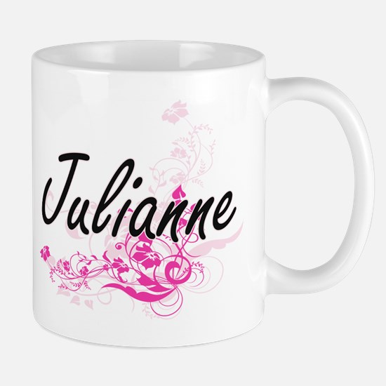 Julianne Artistic Name Design with Flowers Mugs