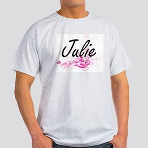 Julie Artistic Name Design with Flowers T-Shirt