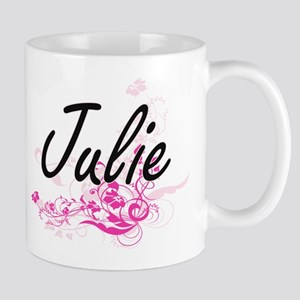 Julie Artistic Name Design with Flowers Mugs
