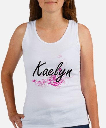 Kaelyn Artistic Name Design with Flowers Tank Top