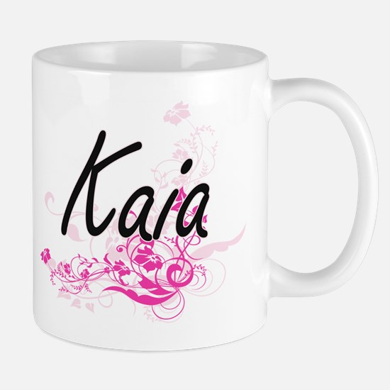 Kaia Artistic Name Design with Flowers Mugs