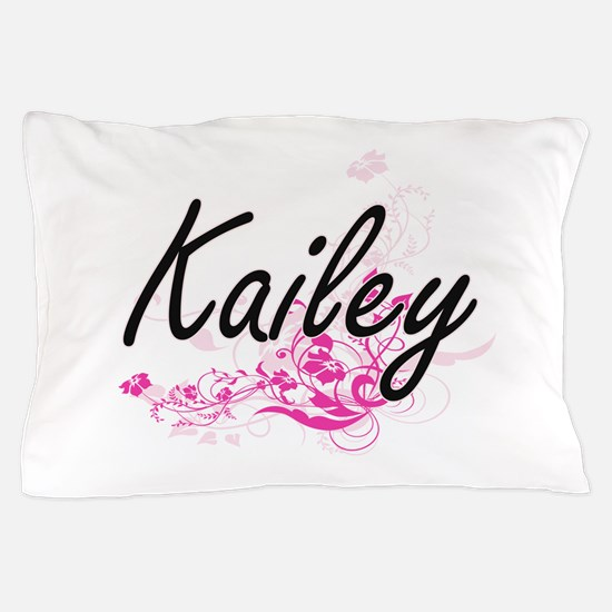 Kailey Artistic Name Design with Flowe Pillow Case