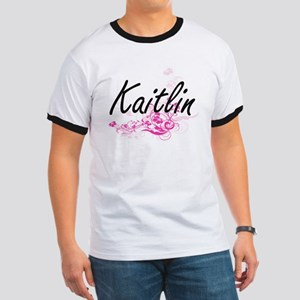 Kaitlin Artistic Name Design with Flowers T-Shirt