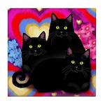 BLACK CATS VALENTINE HEARTS Tile Coaster