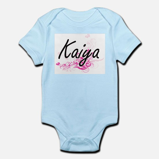 Kaiya Artistic Name Design with Flowers Body Suit