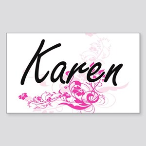Karen Artistic Name Design with Flowers Sticker