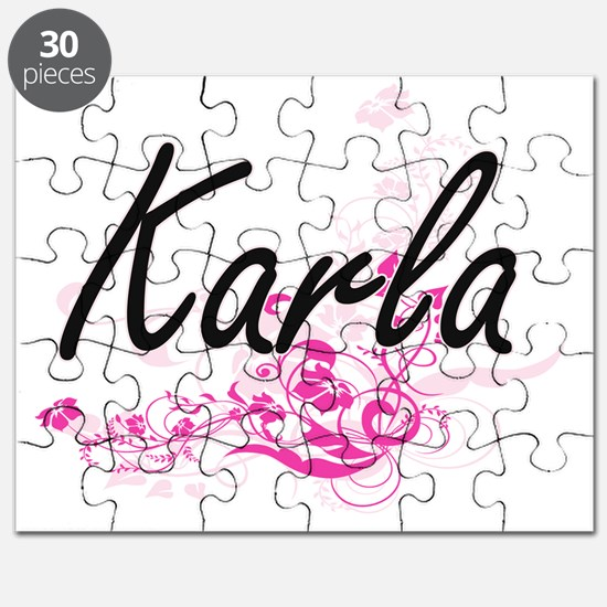 Karla Artistic Name Design with Flowers Puzzle