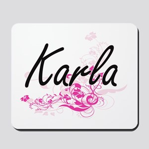 Karla Artistic Name Design with Flowers Mousepad