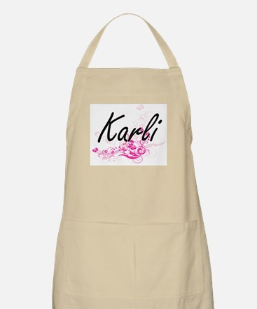 Karli Artistic Name Design with Flowers Apron