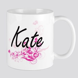 Kate Artistic Name Design with Flowers Mugs