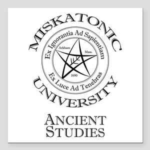"Miskatonic-Ancient Square Car Magnet 3"" x 3"""