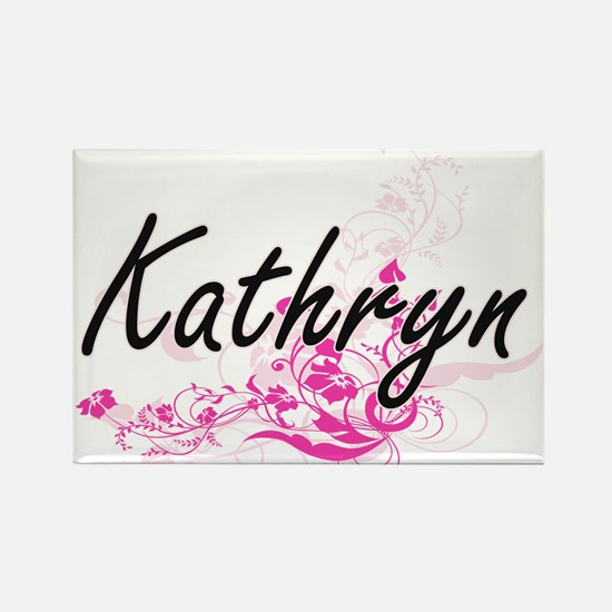 Kathryn Artistic Name Design with Flowers Magnets