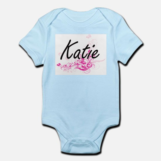Katie Artistic Name Design with Flowers Body Suit