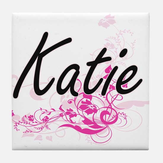 Katie Artistic Name Design with Flowe Tile Coaster