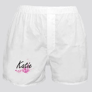 Katie Artistic Name Design with Flowe Boxer Shorts
