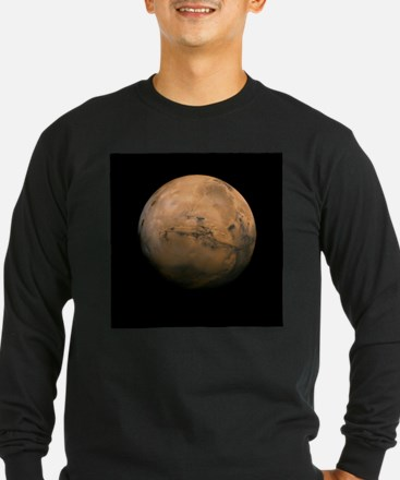 Mars Globe - Valles Mariners b Long Sleeve T-Shirt