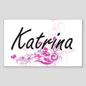 Katrina Artistic Name Design with Flowers Sticker