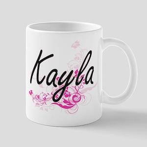 Kayla Artistic Name Design with Flowers Mugs