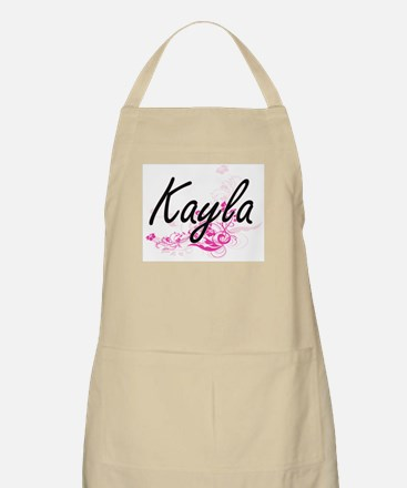 Kayla Artistic Name Design with Flowers Apron