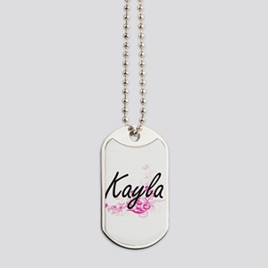 Kayla Artistic Name Design with Flowers Dog Tags
