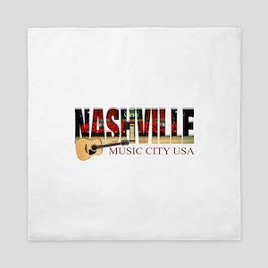Nashville Music City USA Queen Duvet