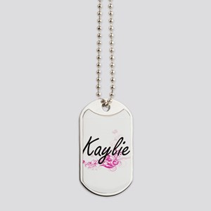 Kaylie Artistic Name Design with Flowers Dog Tags