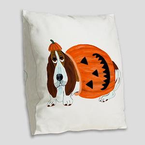 Basset Hound In Pumpkin Suit Burlap Throw Pillow