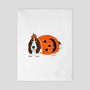 Basset Hound In Pumpkin Suit Twin Duvet