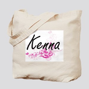 Kenna Artistic Name Design with Flowers Tote Bag