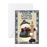 Warm Winter Snowman Greeting Card