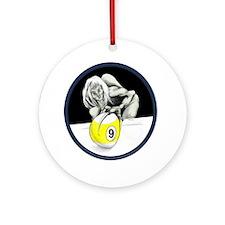 Twisted Billiard Halloween 9 Ball Round Ornament