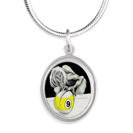 Twisted Billiard Halloween 9 Ball Silver Necklace