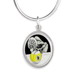 Twisted Billiard Halloween 9 Silver Oval Necklace