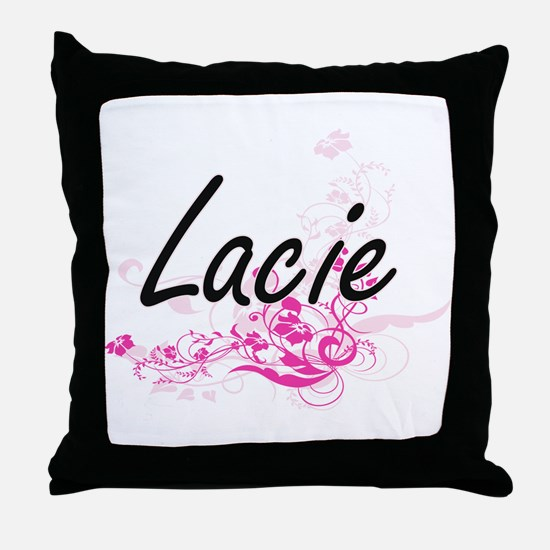 Lacie Artistic Name Design with Flowe Throw Pillow