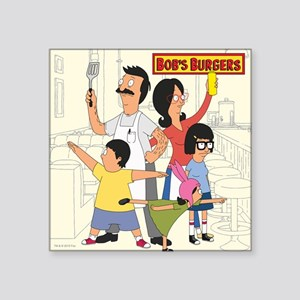 "Bob's Burger Hero Family Square Sticker 3"" x 3"""