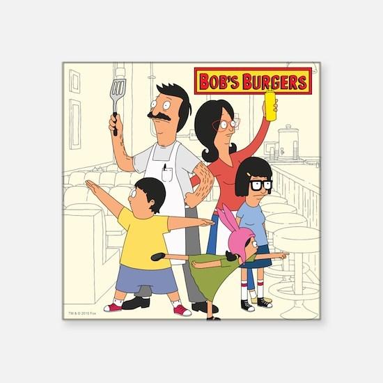 "Bob's Burger Hero Family Square Sticker 3"" x 3"""