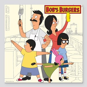 "Bob's Burger Hero Family Square Car Magnet 3"" x 3"""