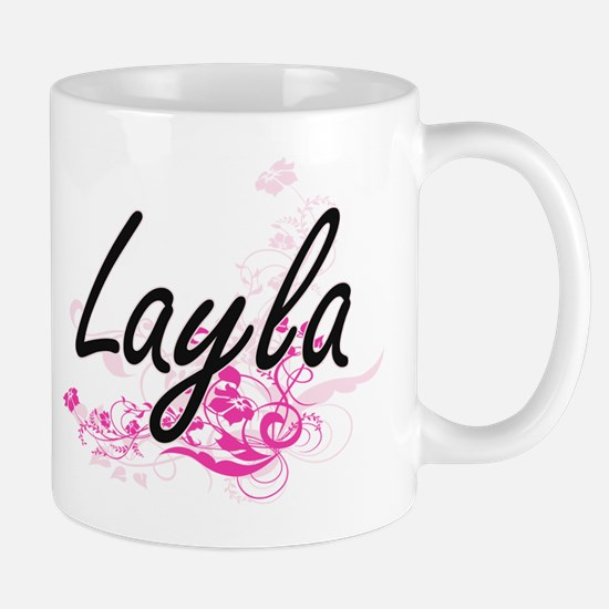 Layla Artistic Name Design with Flowers Mugs