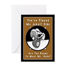 Jekyll Hyde 8 Ball Billiards Greeting Card