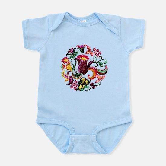 Jacobean Embroidery Flowers Infant Bodysuit