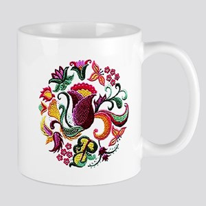 Jacobean Embroidery Flowers Mug