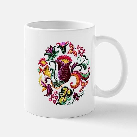 Jacobean Embroidery Flowers Mug