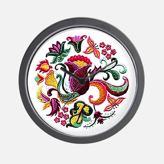Jacobean Embroidery Flowers Wall Clock
