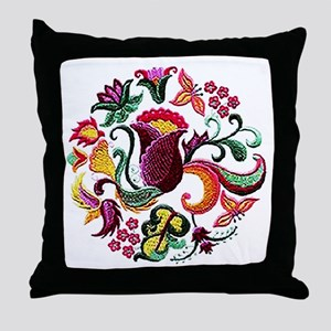Jacobean Embroidery Flowers Throw Pillow