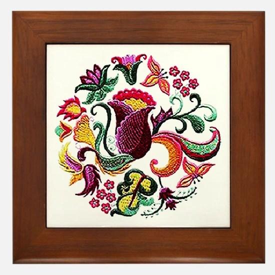 Jacobean Embroidery Flowers Framed Tile
